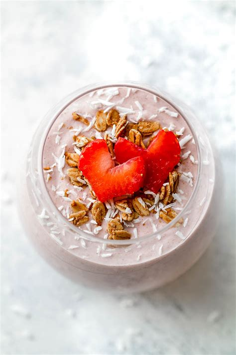 Strawberry Banana Oat Breakfast Smoothie Running With Spoons