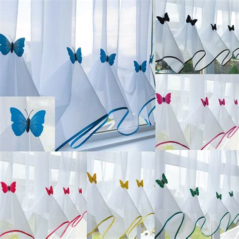Kitchen Blinds Ebay by Butterfly Voile Curtain With Matching Piping Kitchen