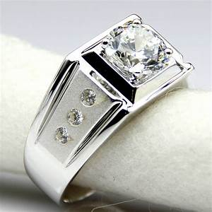 diamond men ring center 2 carat simulated diamond With man s wedding ring with diamonds