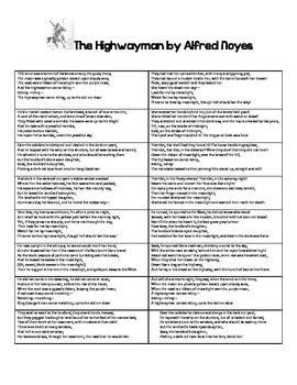 the highwayman worksheets resultinfos