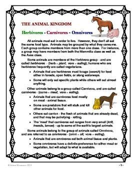 animal kingdom carnivore herbivore omnivore quiz