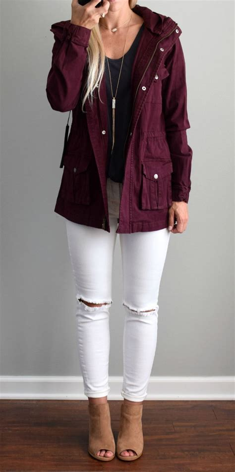 Burgundy Jacket White Ripped Skinny Jeans A Perfect