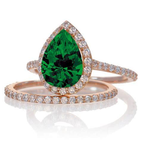 carat emerald  diamond halo bridal ring set
