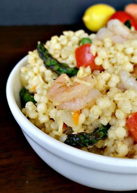 shrimp asparagus  garlic parsley pearl couscous