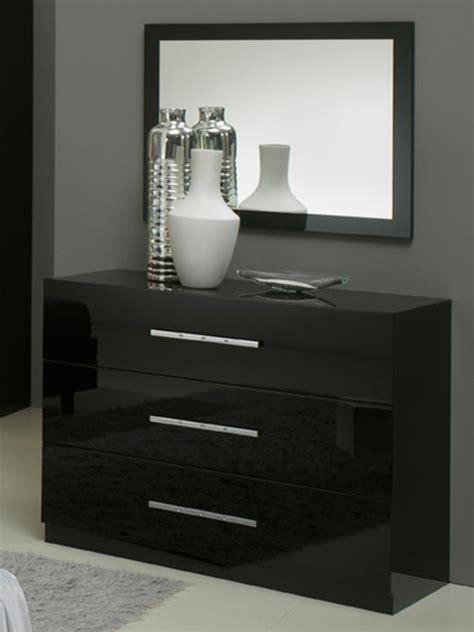 chambre meuble noir commode 3 tiroirs gloria noir