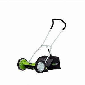 Greenworks 16 In  Manual Push Reel Mower With Bag