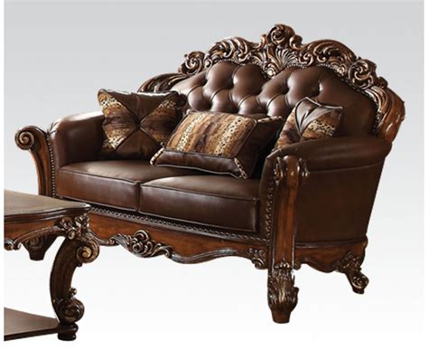 leather loveseat vendome formal sofa loveseat set in ornate brown