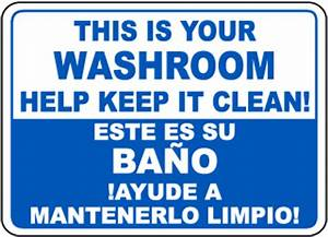 bathroom etiquette signs bathroom signs restroom With clean the bathroom in spanish