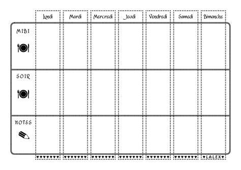 modèle de menu de la semaine à imprimer sous forme de