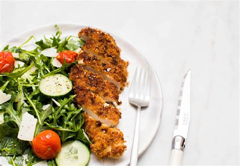Dip rounded side of each breast in panko mixture. Crispy Panko Chicken with Arugula, Parmesan, and Roasted Tomatoes   Tried & True Recipes