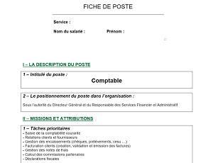 cadre administratif et commercial d entreprise mod 232 le de fiche de poste pour comptable