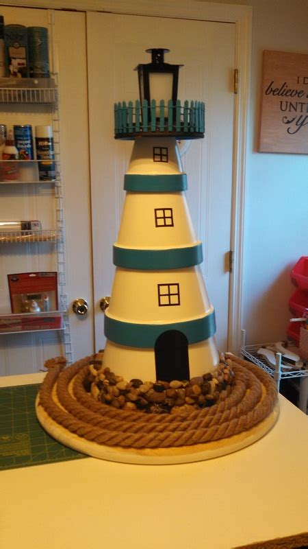 simple clay pot lighthouse projects   garden guide patterns