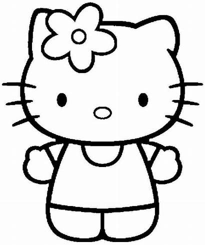 Kitty Hello Cartoon Printable Drawing Colouring Pages
