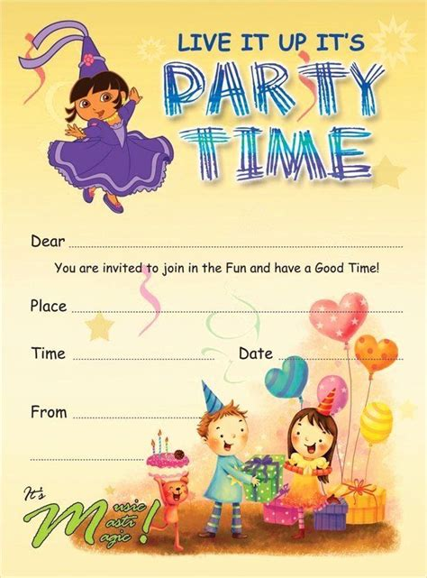Kids Birthday Invitation Template Beautiful 19 Kids Party