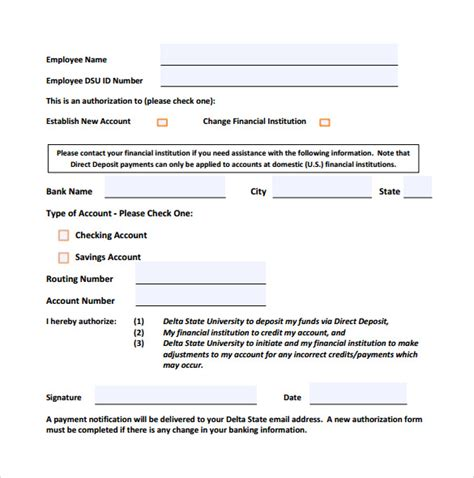 direct deposit form template word 9 direct deposit form for free sle templates