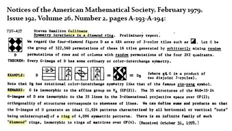 The Diamond Theorem (ams Abstract 79ta37