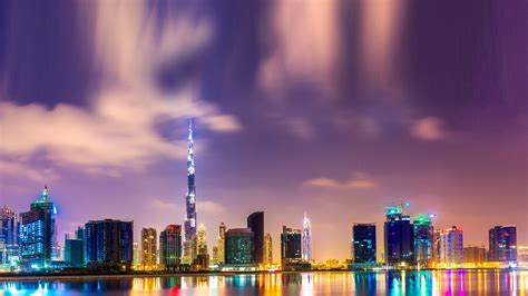 Wallpaper Beautiful Night In Dubai, Burj Khalifa, High