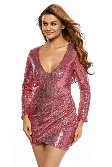 Women Ruched Sequin Long Sleeve Nightclub Dress Stage