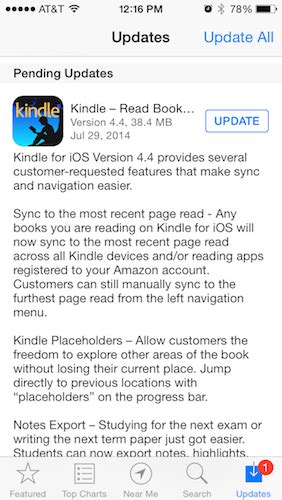 navigation and syncing updated in kindle for ios