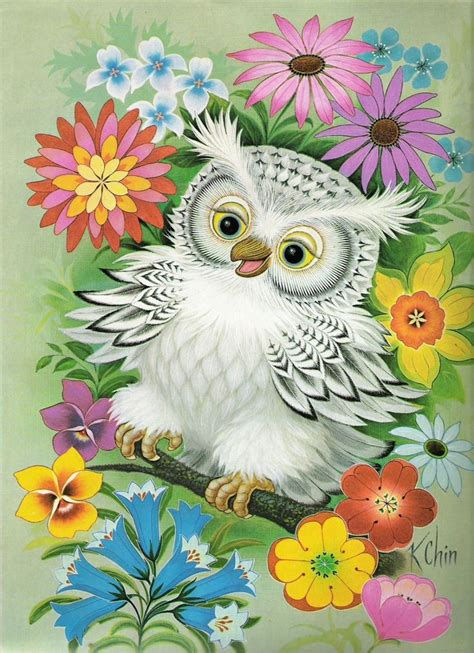 chin wise owl series lithograph print  signed