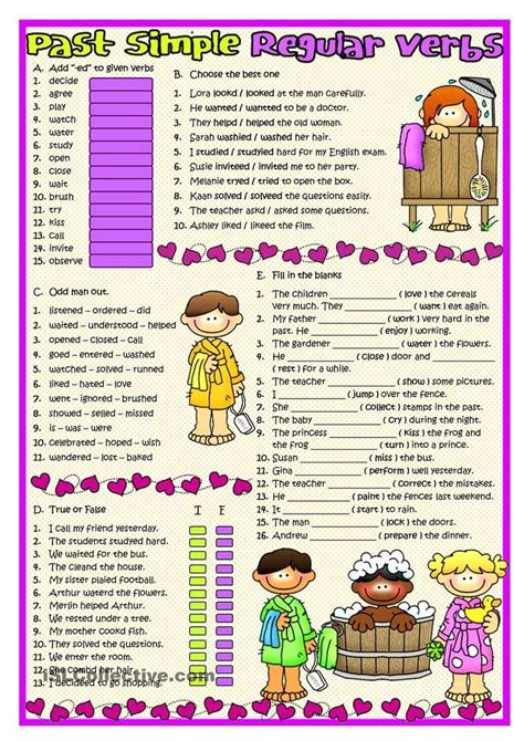 Past Simple Regular Verbs  Souk  Pinterest  English, English Grammar And Worksheets