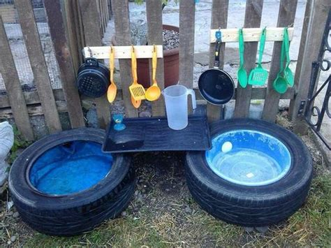 Kitchen Garden Equipments by Easy Ideas For Reusing Tyres In Outdoor Play Areas And