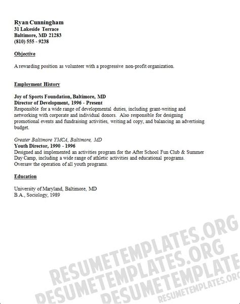 Resume Volunteer Experience by 3285 Best Resume Template Images On Sle
