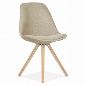 Chaise Tissu Beige : chaise en tissu beige avec pieds pyramide en bois de ch ne cult uk ~ Teatrodelosmanantiales.com Idées de Décoration