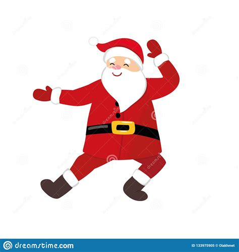 Funny Cartoon Santa Dancing Quirky Comic Character Stock