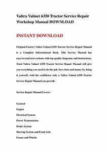 Valtra Valmet 6350 Tractor Service Repair Workshop Manual