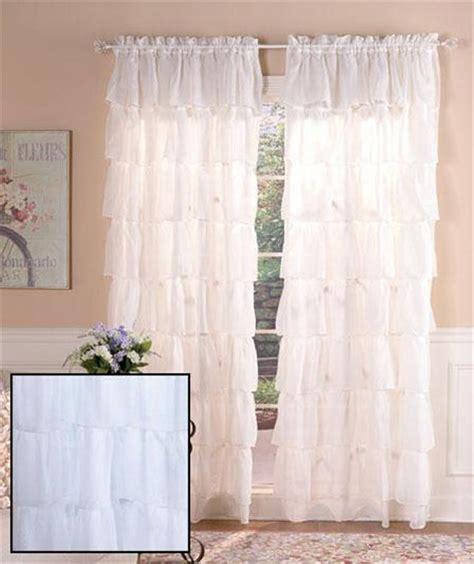 semi sheer ruffled window treatment curtain panel