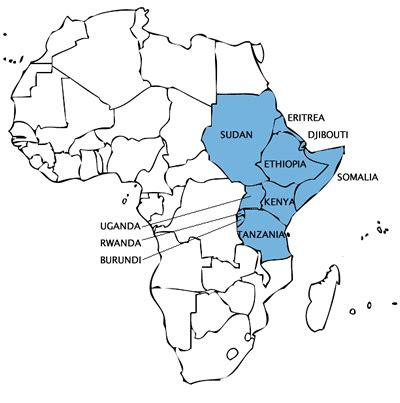 blank map  central  east africa