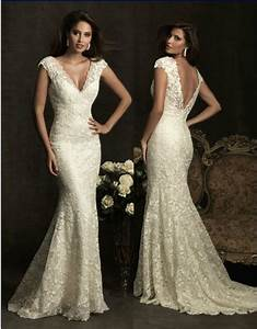 v neck cap sleeve lace backless mermaid wedding dress With v neck cap sleeve wedding dress