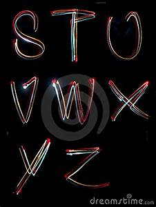 Alphabet Light Neon Writing Long Exposure Royalty Free