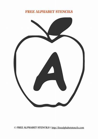 Stencils Printable Alphabet Apple Wall Stencil Coloring