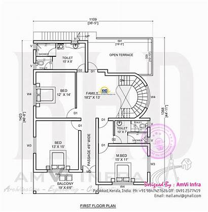 Plan Bedroom Floor Contemporary Kerala Square Feet