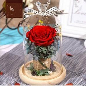 Eternal flower gift box, glass cover, dried flower, rose