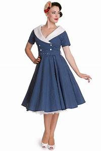 Hell bunny claudia 5039s pinup dress in blue for Robe année 50 blanche