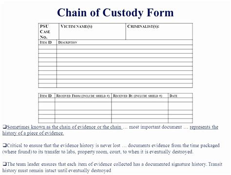 Testing Chain Of Custody Form Template Templates Chain Of Custody Process Pictures To Pin On