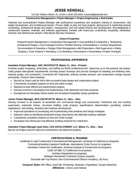 construction assistant project manager resume sle exle architectural assistant project manager resume free sle