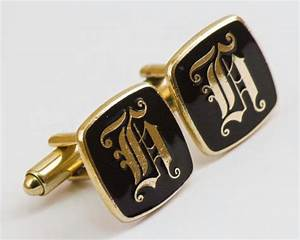 138 best january 2014 cuffsandclips vintage cuff links With gold letter cufflinks