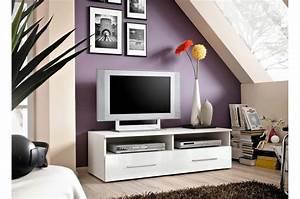 Télé 110 Cm : meuble t l 120 cm blanc laqu rubby cbc meubles ~ Teatrodelosmanantiales.com Idées de Décoration