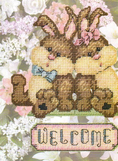 bunnies  sign plastic canvas pattern instructions