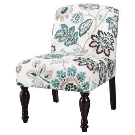 foster armless slipper chair teal white floral