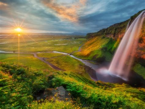 photo wallpaper hd waterfall river valley sunset