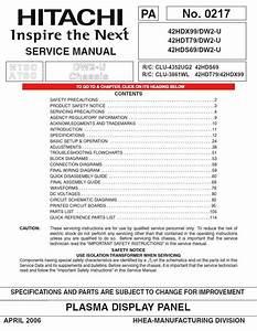 Hitachi 42hdx99 42hdt79 42hds69 Tv Service Repair Manual