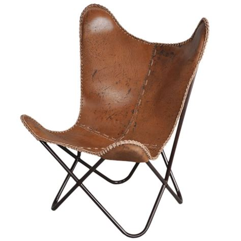 anti brown leather butterfly chair
