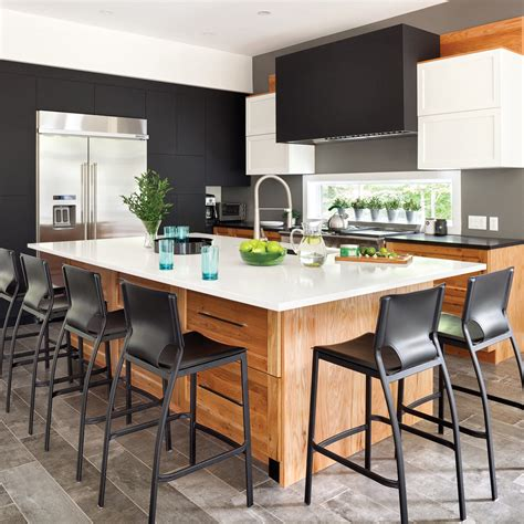 amalgame cuisine cuisine actuelle en noir blanc et bois cuisine