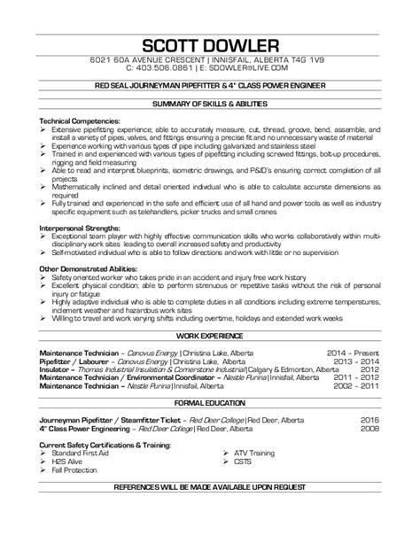 Journeyman Pipefitter Resume by Dowler Pipefitter Resume