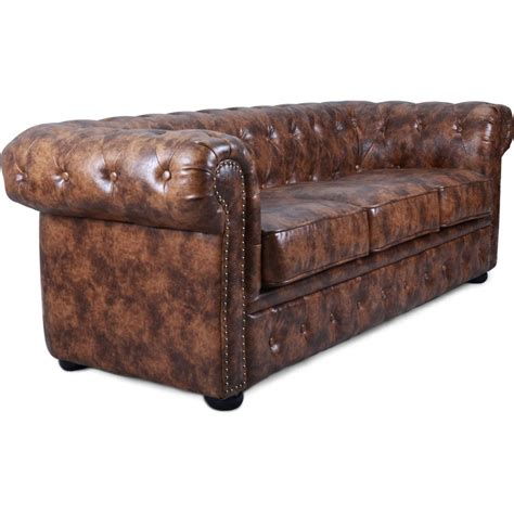 canap 233 chesterfield 3 places cuir marron vintage